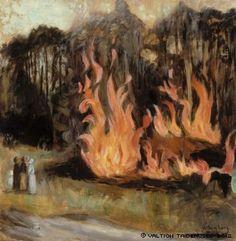 'Bonfire' by Hugo Simberg Scandinavian Art, Summer Art, Light And Shadow, Art Boards, Finland, Cool Art, Art Gallery, My Arts, Art Prints