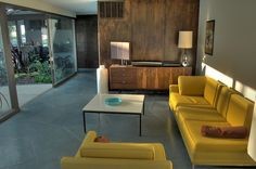Mid-Century Modern Living Room in Chartreuse and Turquoise
