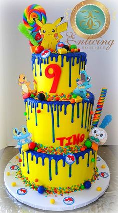 Pokemon Pikachu Drip Cake This is a one of kind Pokemon Pikachu Drip Cake. I made this for my son's birthday. Pokemon Cake Pops, Pikachu Cake, Pokemon Cakes, Pokemon Pokemon, Bolo Drip Cake, Drip Cakes, 6th Birthday Parties, Birthday Fun, Sons Birthday