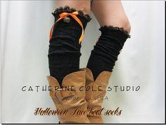 NEW HALLOWEEN  lace boot socks orange by CatherineColeStudio, 25.90