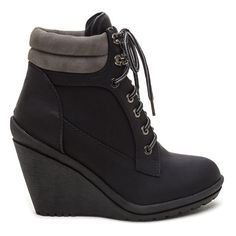 You Better Workboot Wedge Booties BLACK ($52) ❤ liked on Polyvore featuring shoes, boots, ankle booties, ankle boots, black, short black boots, lace up booties, work boots, black lace up booties and lace up wedge bootie