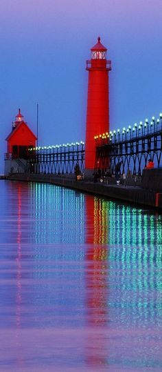 Grand Haven #Lighthouse & Pier - Located at Grand Haven State Park in Grand Haven, #Michigan #travel