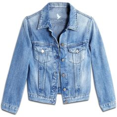 MiH Jeans Denny Shrunken Classic Denim Jacket (520 BRL) ❤ liked on Polyvore featuring outerwear, jackets, tops, coats, blue jackets, blue denim jacket, 3/4 sleeve jacket, jean jacket and cropped jean jacket