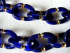Vintage ARCHIMEDES SEGUSO Hand Blown Cobalt Blue Glass Necklace