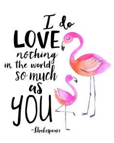 IMPRIMIBLES infantiles Flamingo pared acuarela arte cita