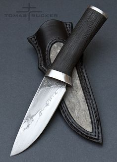 Custom Handmade Knives - Tomas Rucker steel: forged 19191 steel length: 258mm handle: bog oak sheath: shark skin - cow leather