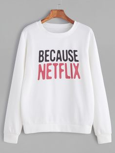 About This sweatshirt is Made To Order, we print the sweatshirt one by one so we can control the quality.Because Netflix Sweatshirt Funny Sweatshirts, Sweatshirts Online, Hoodies, Earl Sweatshirt, Graphic Sweatshirt, Sweat Shirt, Mode Outfits, Fashion Outfits, Mein Style