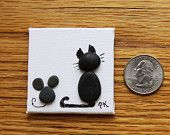 """Miniature """"BLACK CAT with MOUSE"""" Pebble Art Magnet 2"""" x 2"""" on Canvas"""