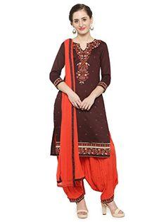 82ba32869bd2 Kvsfab Women's Satin Unstitched Patiala Salwar. KVS Fab · Designer embroidered  cotton patiala dress material @ amazon.in