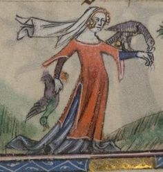 Illuminations in the Taymouth Hours, [early 14th c. England] starting @ pg. 68 feature noblewomen hunting w/everything from dogs to nets to bows to hawks. In the main ms., the illuminations start about pg. 68. In these 4 close-ups, you can see the gist of the style: a long, tight sleeved gown, w/a shorter, split-sided, tippeted (if it's not a word, it should be) overdress. Sev'l overgowns have fur lining. Sev'l ladies wear veils & 1 has a hood folded & set on a hawk's perch. [Are they…