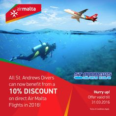 More Great News from AIR MALTA. Benefit from a 10% discount on all scheduled direct flights (excluding special offers) operated by Air Malta. Hurry up! The Offer is valid for reservations made till the 31st March 2016 for flights to / from Malta up to the 20th October 2016 (excluding 22/7/2016 to 09/9/2016).   Contact our team on standrew1989@gmail.com for further information now.  #Airmalta #StandrewsDiversCove #Diveingozo #Diveinmalta #Gozo2016 
