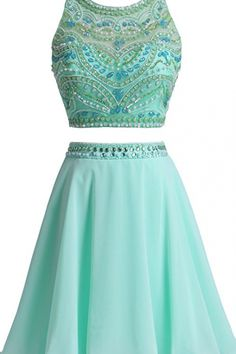 Homecoming Dresses Halter Two Pieces Short Prom Dresses