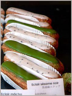 Matcha and black sesame eclairs from Sadaharu Aoki, Japanese pâtisserie in Paris.