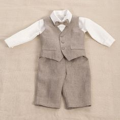 Baby boy linen suit ring bearer outfit boy baptism natural clothes first birthday rustic wedding beach many color formal SET of 3 baby photo Baby Outfits, Kids Outfits, Boys Linen Suit, Ring Bearer Outfit, Party Suits, Natural Clothing, Boys Suits, Ring Set, Beige