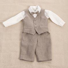 Kids boy natural linen suit boy linen clothes ring by Graccia, $140.00
