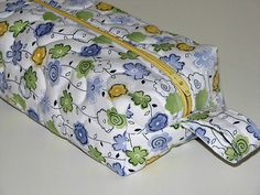 Zippered Boxy Pouch, Quilted Storage Pouch, Blue and Green Floral Pouch, Quiltsy Handmade by VillageQuilts on Etsy