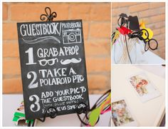 Creative Wedding Guestbook Idea: Have guests take goofy photos and sign them so you can have a more visual guestbook.