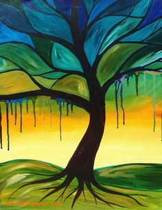 Tree with Drips By Cinnamon Cooney The Art Sherpa as a Fully guided art lesson for Hart Party on youtube. Free online home painting party https://www.youtube.com/user/HoneyBmama #artlesson #theartsherpa #hartparty #easyart #paintingparty #art #diy