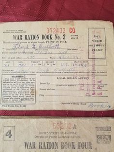 My Grandfathers War Ration book #3 -Lloyd G. Culbreth collection