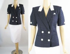 Vintage 1980s Suit Oleg Cassini White and Navy Polka Dots B36 W25