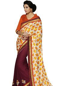 Cream And Maroon Color Chiffon And #Jacquard Saree