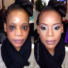 This makeover is AMAZING!!!!!!!! Very soft but yet bold enhancement  and amazing highlight  Good makeup can always bring out the fierce in us!! Cudos to this MUA!! #makeovers #beauty #before&after #highlight #thisisntmyworkjustadmiring