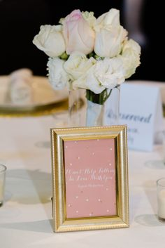 each table had a song name and when the song played they got up for dinner! wedding, bride and groom // Jeanne Phinney Photography // blush pink and gold wedding inspiration