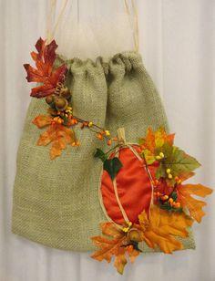 Burlap and pumpkin dollar dance bag