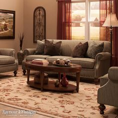 For a dramatic living room, consider deeper tones like crimson. This hue matches well with the rich, brown upholstery of the sofa, and it's a great color scheme for Fall.