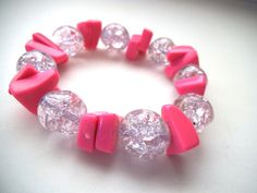 Pink Stretch Bracelet Crackle Beads and  by TerriJeansAdornments, $10.00