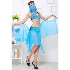 Blue Sexy Ladies Flapper Indian Belly Dance Folk Costume (£20) ❤ liked on Polyvore featuring costumes, blue, sexy costumes, sexy indian costume, womens indian costume, indian halloween costumes and womens flapper costume