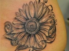 sunflower butterfly tattoo - really pretty design for no stem. love the swirls