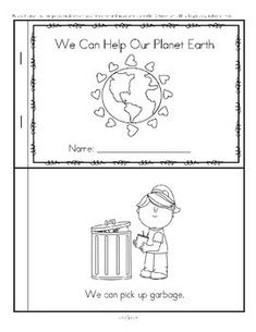 Earth Day FREE informational emergent reader for early learners in b/w. Cut out the pages, stack them, and staple together on the left side. This booklet tells about some things that young children can do to help our Planet Earth. On the last page a child can draw something that he/she can do to help. 5 pages, 10 reader