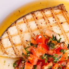 Grilled Halibut with Lemon-Basil Vinaigrette