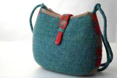 Felt Pouch Adjustable Strap Shoulder Bag dusty by DeborahDumka