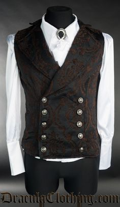 This thick steampunk vest is made from our custom black and brown brocade material. Double buttoned vest that looks great under a jacket or on its own. Steampunk Vest, Steampunk Clothing, Silver Buttons, The Villain, Black And Brown, Gentleman, Looks Great, That Look, Outfits