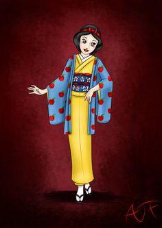 Kimono Disney Princesses : Snow White by Atomicfrog83 on DeviantArt
