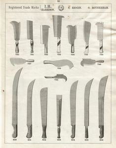 Harrison Billhooks Wood Craft Patterns, Knife Patterns, Spear And Jackson, Blacksmithing Knives, Types Of Swords, Blacksmith Forge, Green Woodworking, Knife Art, Swords And Daggers