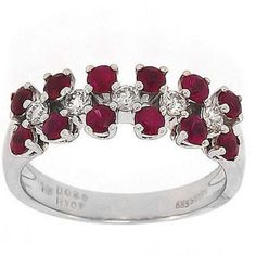 1.30 Cttw G VS Round Diamonds and Ruby Cocktail Ring in 14K White Gold by GetDiamondsDirect on Etsy