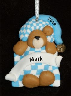 Sleepy Bear Baby Blue - Personalized First Christmas Ornament