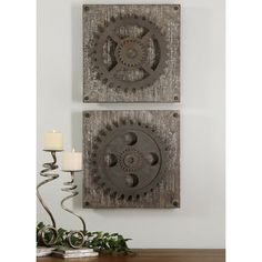Uttermost 2 Piece Rustic Gears Wall Art Set