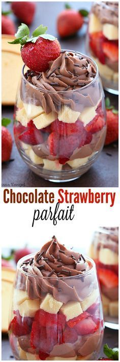 Chocolate strawberry parfait Layers upon layers of buttery cake, rich chocolate filling and ripe strawberries make this chocolate parfait an irresistible treat! Perfect for last minute guests or as a quick after dinner dessert! Parfait Desserts, Parfait Recipes, Brownie Desserts, Mini Desserts, Chocolate Desserts, Easy Desserts, Delicious Desserts, Dessert Recipes, Yummy Food