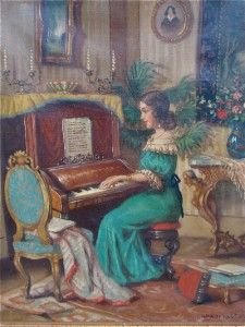 Artist Janos Apatfalvi Czene, Oil Painting 'Woman Playing Piano'