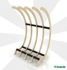 """4 boards """"Bandito"""" surfboard rack - pretty and functional for my home"""