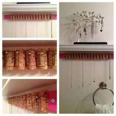 DIY necklace holder hanging in my bathroom, just made it today 6/19/13. Small bling hot glued on ends of nails.  *(Earring tree from Clair's) -KJ