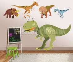 Dinosaur Decals - 5 large dinosaurs wall decals perfect for a boys bedroom. $115.00, via Etsy.