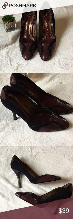 "J Vincent Shoes Heels MaroonBlack Women Size 7M Beautiful Black & Maroon Shoes High Heel approx 3""  Slip On Barely Worn. Women Size 7M J Vincent Shoes Heels"