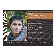 PHOTO GRAD PARTY INVITE zebra stripe orange