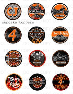 Harley Davidson Birthday Party Cupcake Toppers