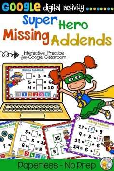 Elementary students love this fun, engaging super hero themed Missing Addends Google Slides digital math practice activity. It's great for distance learning, small group, whole group and centers. Perfect for 1st or 2nd grade. (Year 1, Year 2) #missingaddends #onlinelearning Elementary Teacher, Elementary Schools, Primary Education, Teacher Resources, Teacher Tips, Learning Resources, Classroom Resources, Teaching Math, Teaching Ideas